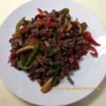 牛肉のこま切れで作る減塩の青椒肉絲風炒め
