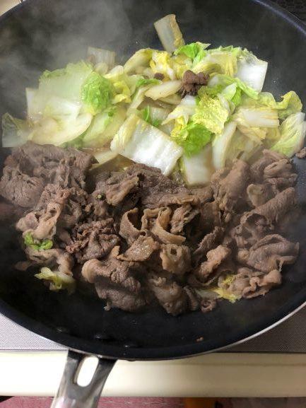 白菜を煮て出来上がり